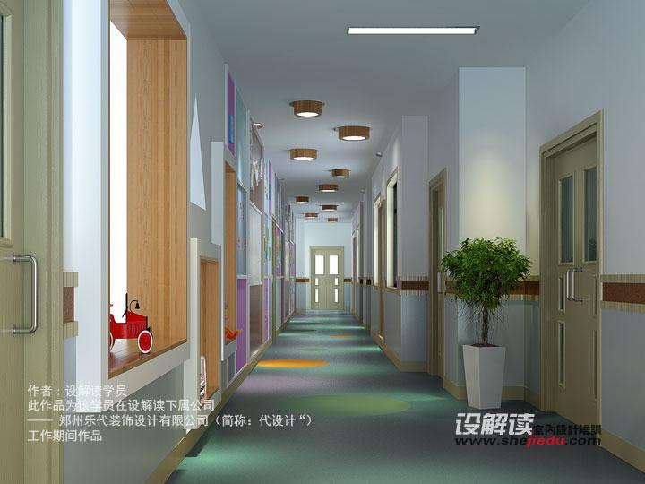 培训老师点评:这是幼儿园空间设计表现中的一个过道空间